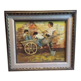 """Mid-Century """"Children at Play With Wagon"""" Framed Painting For Sale"""