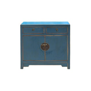 Distressed Teal Blue Lacquer Oriental Mid Side Table Cabinet For Sale