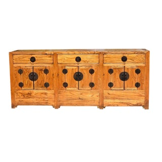19th Century Chinese Solid Elmwood Sideboard For Sale
