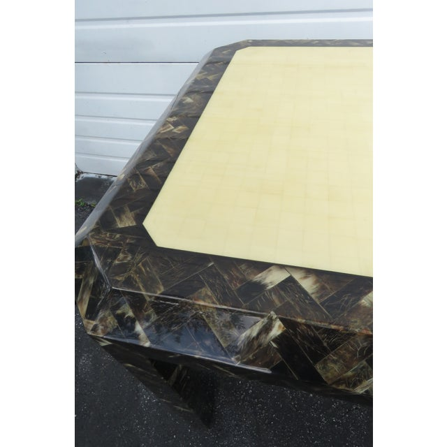 Bone Enrique Garcel Tessellated Horn Card Game Table For Sale - Image 7 of 13
