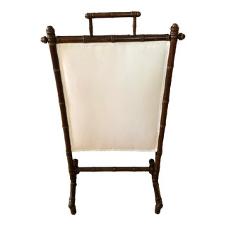Faux Bamboo Chinoiserie Hollywood Regency and Linen Wooden Fireplace Screen For Sale