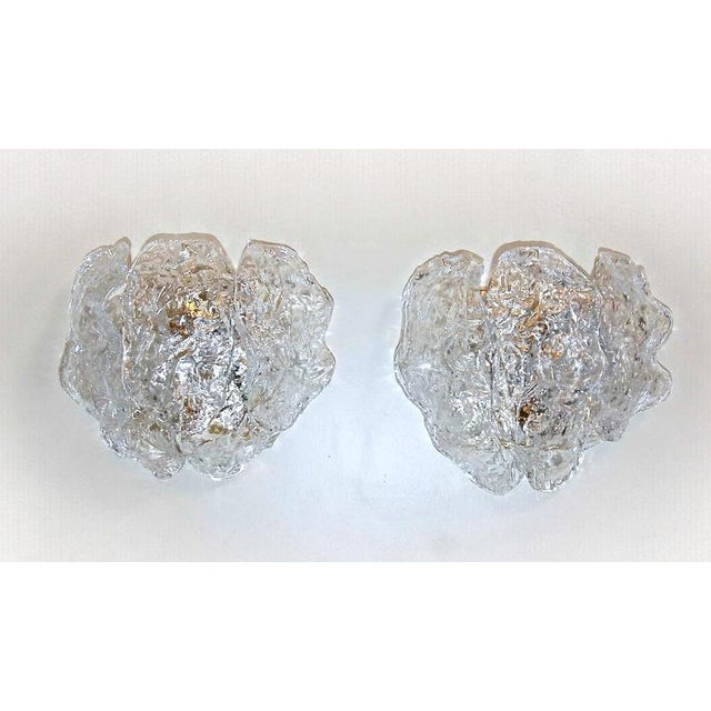 Metal 1960s Italian Murano Clear Textered Curved Glass Sconces - a Pair For Sale - Image 7 of 12