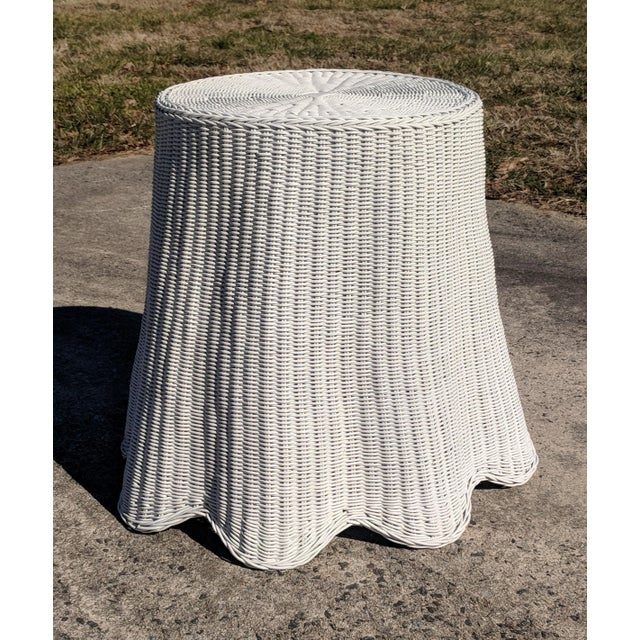 Paint Trompe l'Oeil Draped White Wicker Rattan Ghost Table For Sale - Image 7 of 10