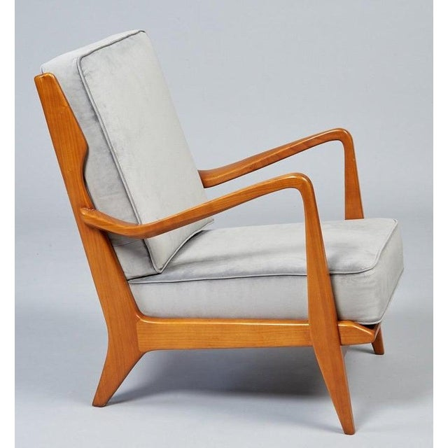 Blue 1950s Vintage Gio Ponti Exquisite Pair of Sculptural Armchairs- A Pair For Sale - Image 8 of 11