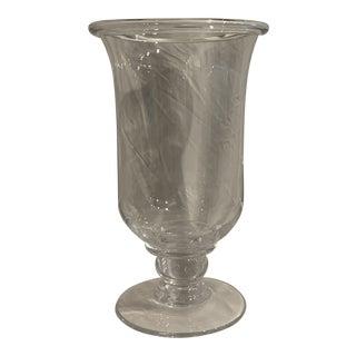 Simon Pearce Hartland Hurricane Blown Glass Candle Holder For Sale