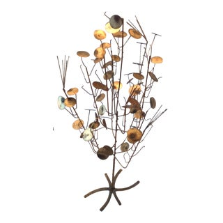 Vintage Mid-Century Brutalist Free Standing Metal Work Tree Sculpture by C. Jere Rain Drop For Sale