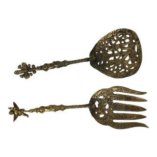 1950s Italian Ornate Silver-Plate Salad Serving Fork and Spoon - a Pair For Sale