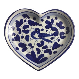 Vintage Heart Shaped Blue & White Trinket Dish Deruta Italy For Sale