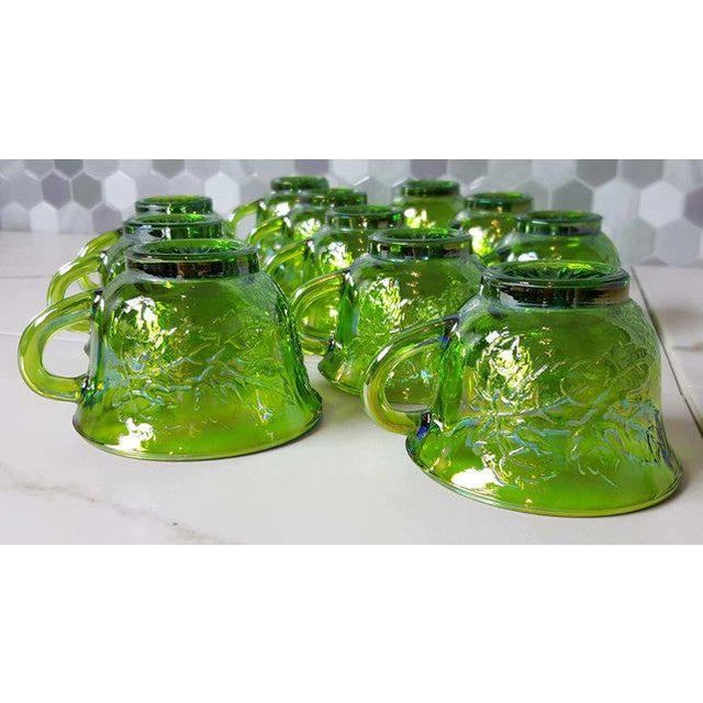 1970's Vintage Indiana Glass Company of Dunkirk Green Glasses- Set of 11 For Sale - Image 11 of 11