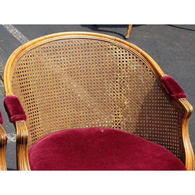 Louis XV Style Caned Lounge Chairs - A Pair For Sale - Image 5 of 6