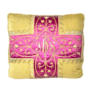 Antique Gothic Revival Gold Embroidered Silk Pillow on Gold Chenille - 24ʺW × 24ʺH For Sale