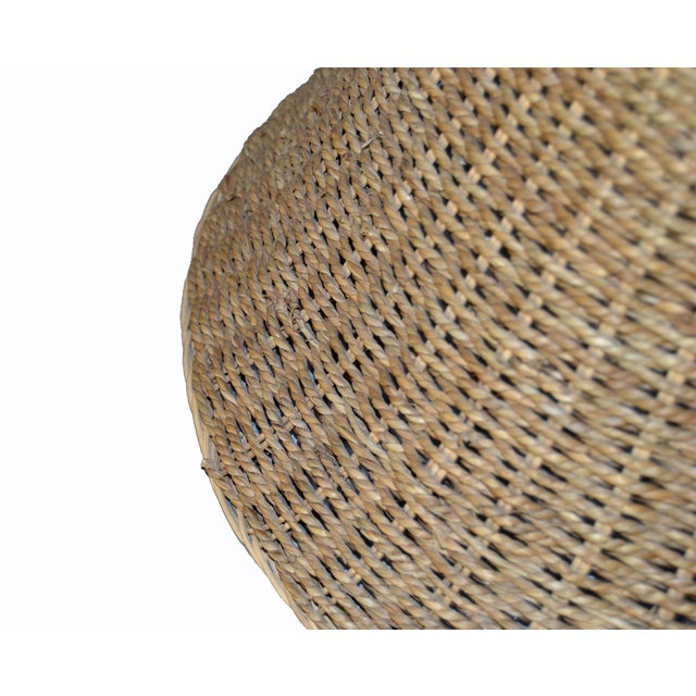 1970s Mid-Century Modern Round Hand-Woven Rattan, Wicker White Lined Fabric Lamp Shade For Sale - Image 5 of 11