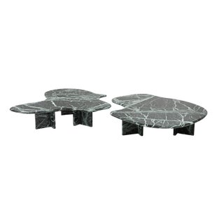 Postmodern Green Marble Coffee Table in the Manner of Noguchi For Sale