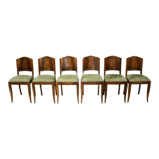 French Art Deco Solid Birchwood and Suede Dining Chairs - Set of 6 For Sale