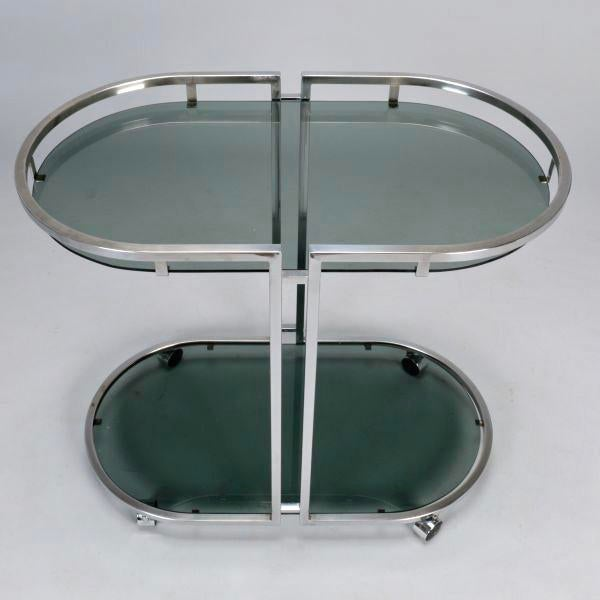 French Mid-Century Chrome and Glass Bar Trolley - Image 7 of 9