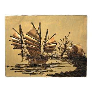 1970's Gold and Black Junk Ship Nautical Textile Art For Sale