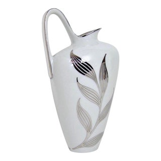 1960s White Porcelain Pitcher With Silver Metal Overlay For Sale