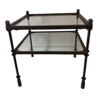 20th Century Two-Tier Forged Iron With Glass Accent Table For Sale