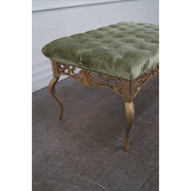 French Louis XV Gilt Metal Tufted Benches - Pair For Sale - Image 5 of 10