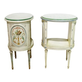20th Century Louis XVI Style White Wooden Nightstands - a Pair