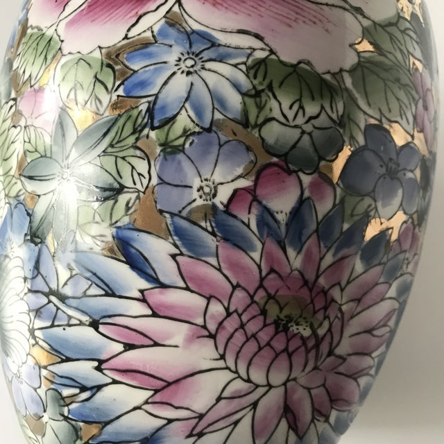 Art Deco Colorful Chinoiserie Floral Ginger Jar/Vase With Gold Accents For Sale - Image 3 of 7