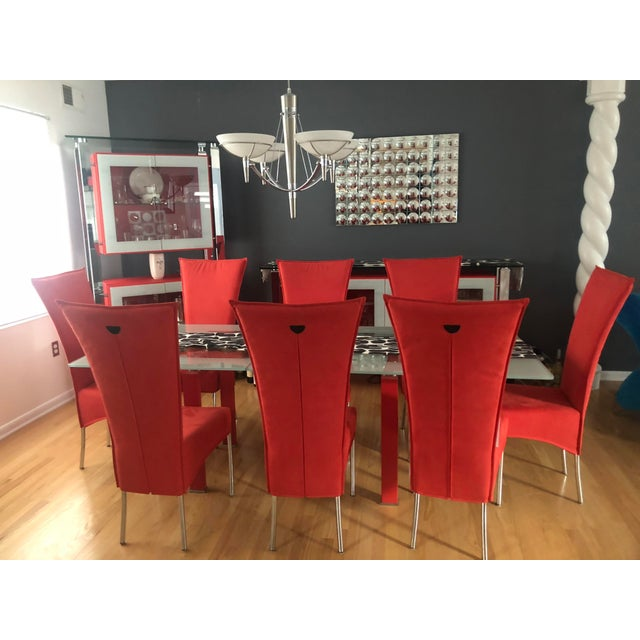 Mid-Century Modern Modern Red Dining Room Table & Chairs Set For Sale - Image 3 of 3