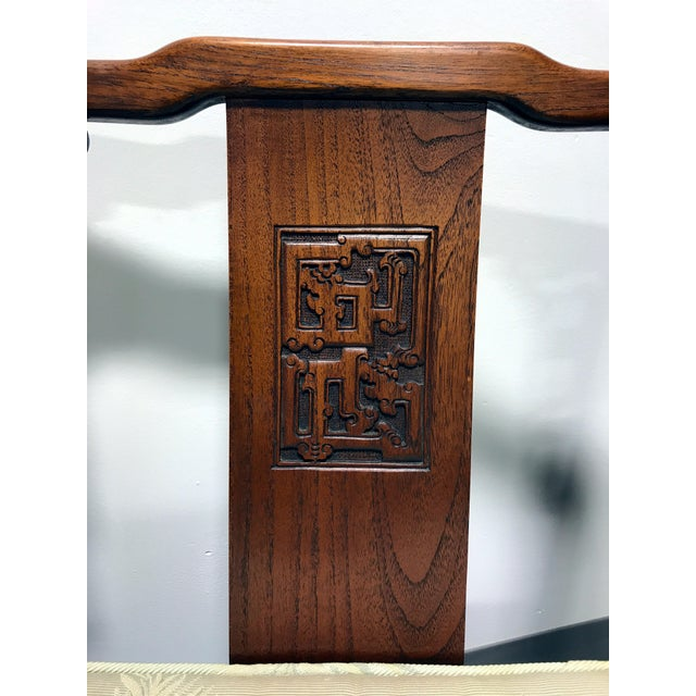 Brown Asian Korean Carved Mahogany Lounge Chairs - Pair For Sale - Image 8 of 11