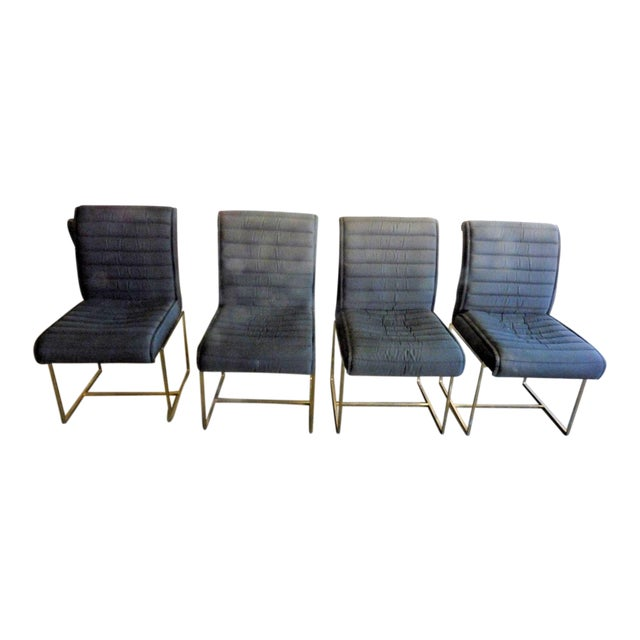 1970's Mid-Century Modern Milo Baughman Dining Chairs - Set of 4 For Sale