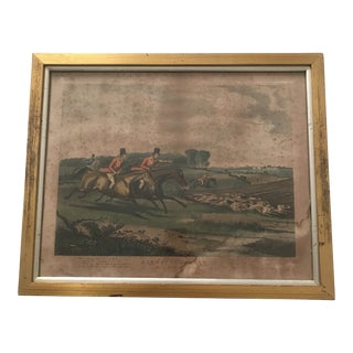 Antique Framed Traditional English Aquatint Sporting Print For Sale