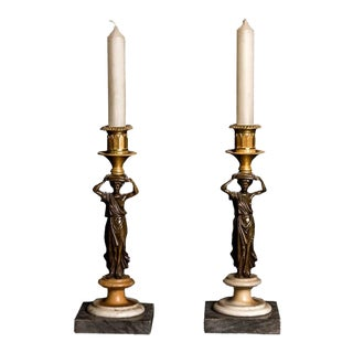 Fine Pair of Patinated and Gilt Bronze Figural Candlesticks, Early 19th Century For Sale