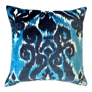 FirmaMenta Italian Bright Blue and Navy Blue Ikat Velvet Pillow For Sale
