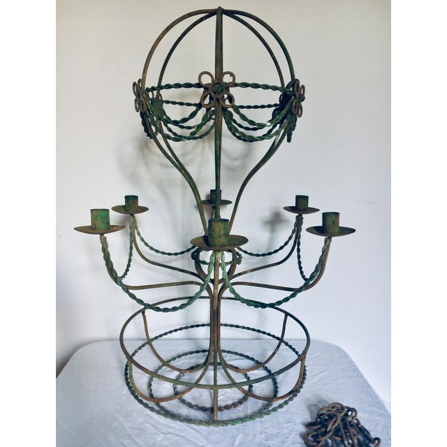 Mid 20th Century Vintage Mid Century Wrought Iron Hot Air Balloon Chandelier & Flower Basket For Sale - Image 5 of 5