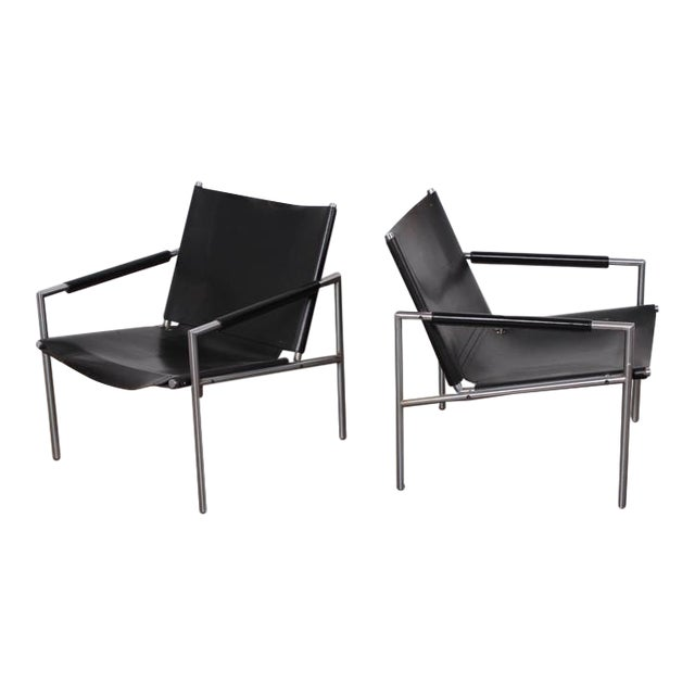 Pair of Leather Lounge Chairs by Martin Visser For Sale