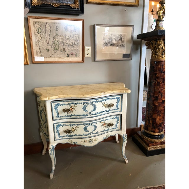 1950s Shabby Chic Italian Cream Hand Painted Chest of Drawers For Sale - Image 11 of 12