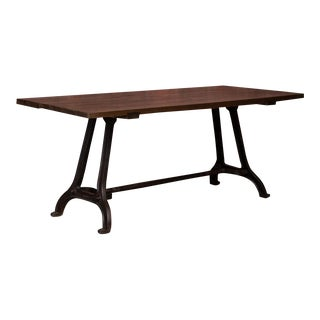 19th Century Rustic Dining Table With Industrial Iron Base For Sale