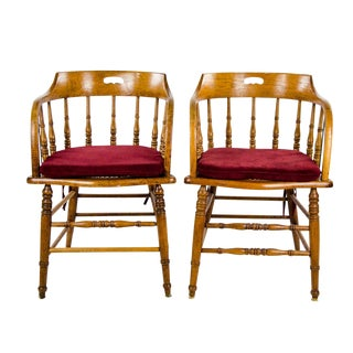 Late 19th Century American Windsor Style Barrel Back Oak and Caned Side Chairs- A Pair For Sale