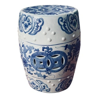 Blue and White Garden Stool For Sale