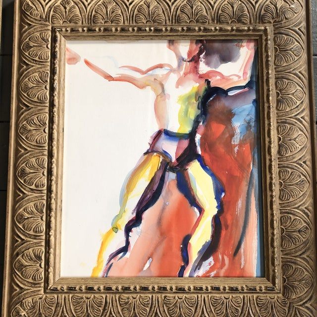 Abstract Gallery Wall Collection-2 Original Vintage Abstract Male Figure Study Watercolor Paintings Vintage Frames- a Pair For Sale - Image 3 of 5