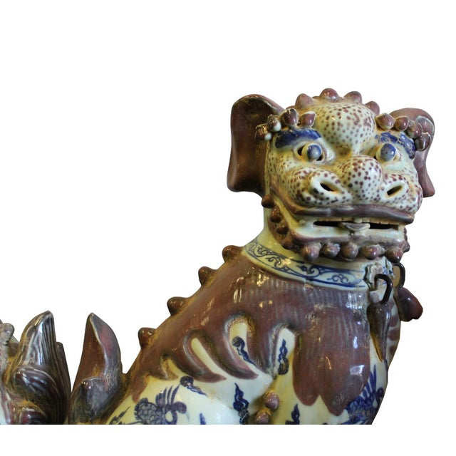Chinese Red White Blue Porcelain Foo Dogs - A Pair For Sale - Image 5 of 8