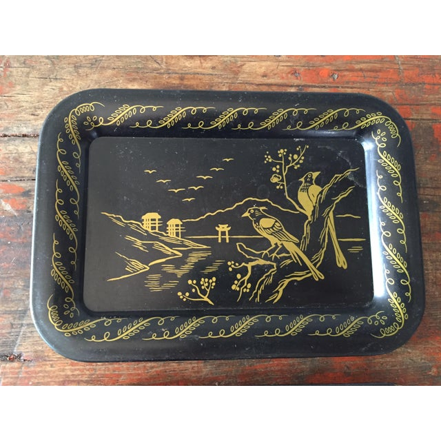 Daisies and Ravens Toile Trays - Set of 3 - Image 5 of 6