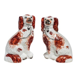 Staffordshire Ruby Dog Figurines - a Pair For Sale
