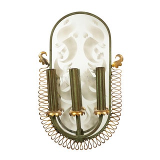 French Mid-Century Patinated Brass and Mirror Wall Sconce For Sale