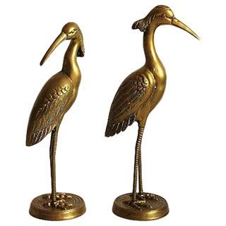 Large Hollywood Regency Brass Cranes
