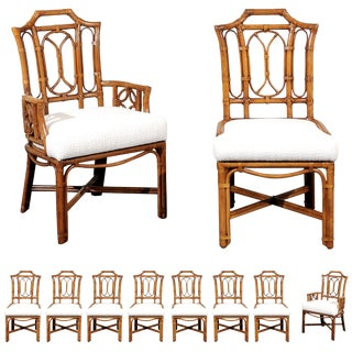 Majestic Restored Set of 10 Pagoda Style High Back Dining Chairs by Ficks Reed For Sale