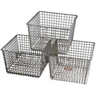Storage Baskets (Set of 3) From Midcentury Swim Basket Unit in Pool Locker Room