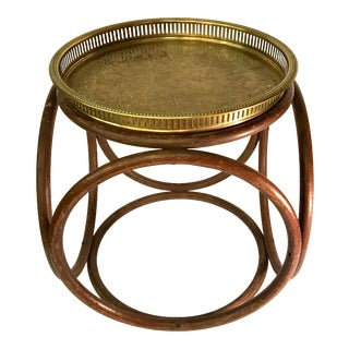 Mid Century Bentwood Table With Brass Tray Top For Sale