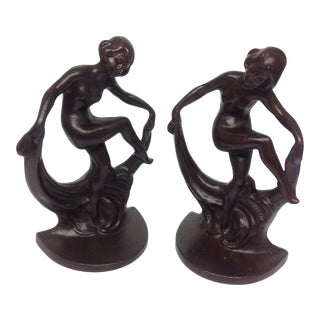 Art Deco Fan Dancer Bookends - A Pair