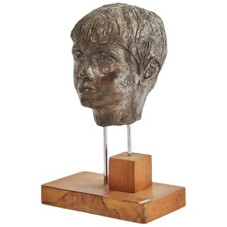 Carved Plaster Bust on Walnut Stand For Sale