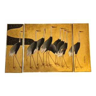 Asian Triptych of Herons in Gold and Black - 3 Pieces For Sale