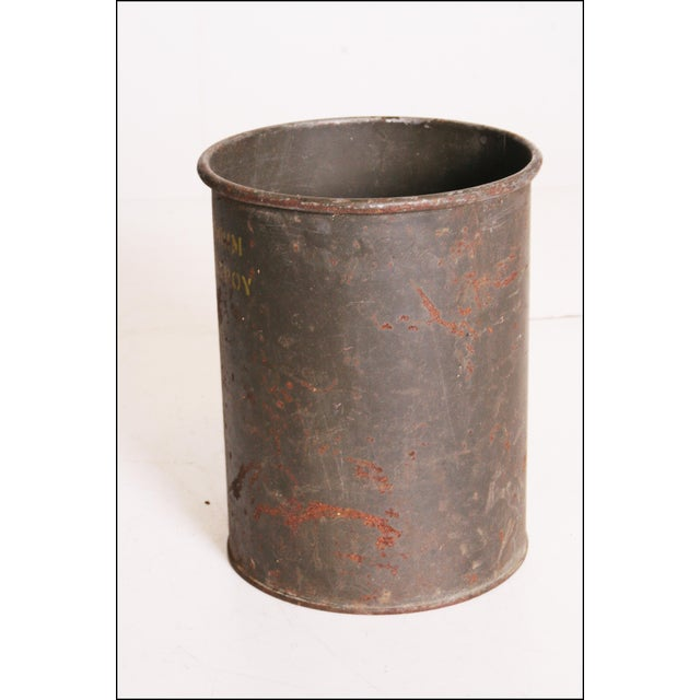 Vintage Industrial Green Metal Military Can - Image 6 of 11